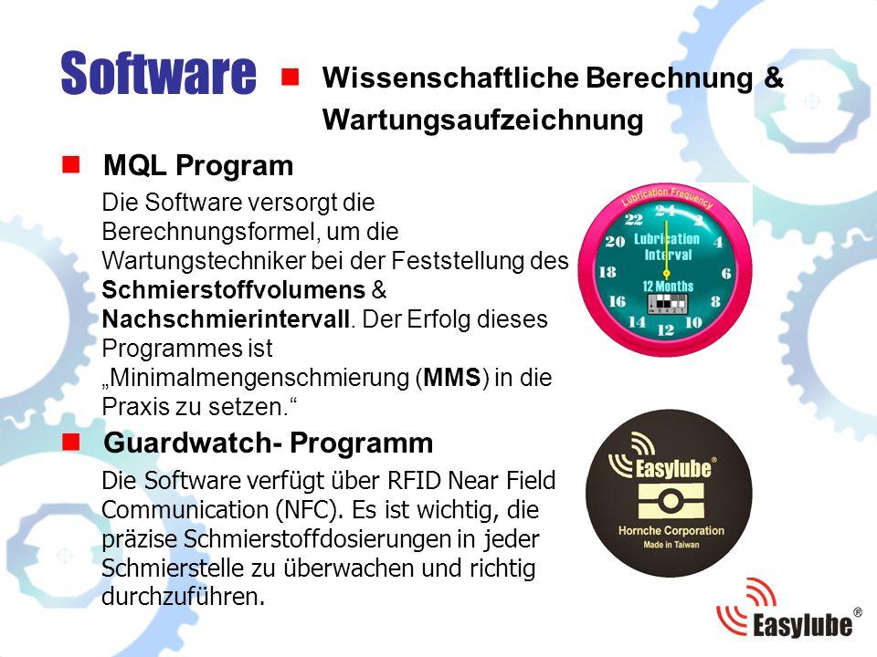 MQL Program Software Wissenschaftliche Berechnung & Wartungsaufzeichnung Die Software versorgt die Berechnungsformel, um die Wartungstechniker bei der Feststellung des Schmierstoffvolumens & Nachschmierintervall.