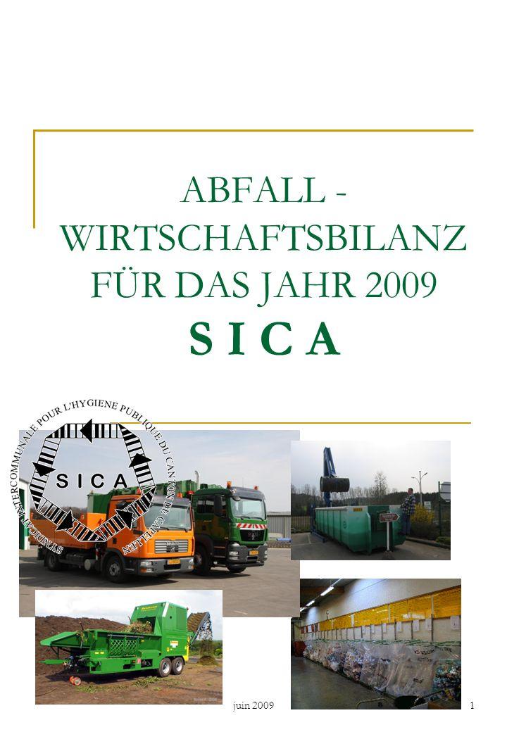 juin 20091 ABFALL - WIRTSCHAFTSBILANZ FÜR DAS JAHR 2009 S I C A