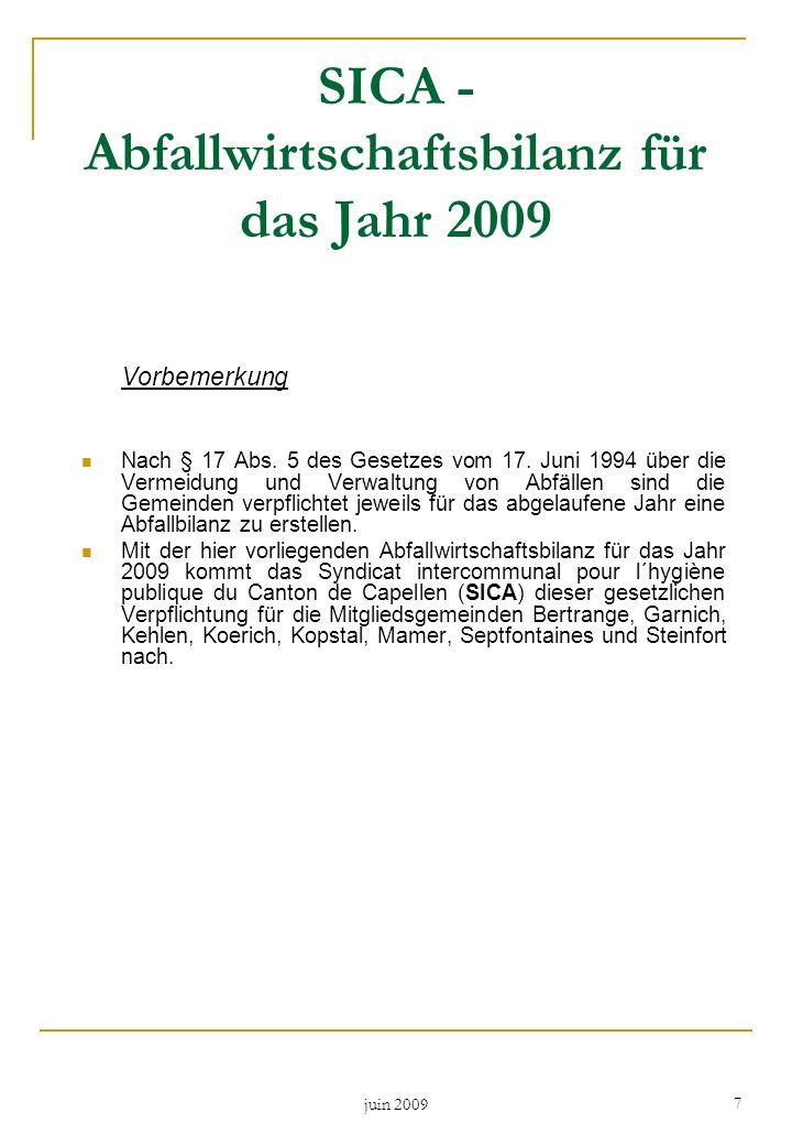 juin 2009 7 SICA - Abfallwirtschaftsbilanz für das Jahr 2009 Vorbemerkung Nach § 17 Abs. 5 des Gesetzes vom 17. Juni 1994 über die Vermeidung und Verw