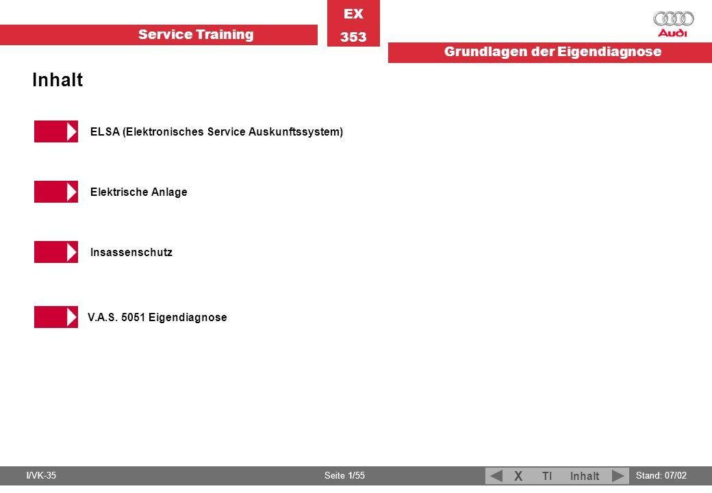 Service Training EX 353 Grundlagen der Eigendiagnose I/VK-35Stand: 07/02 Seite 1/55 TIInhalt X ELSA (Elektronisches Service Auskunftssystem) Elektrisc