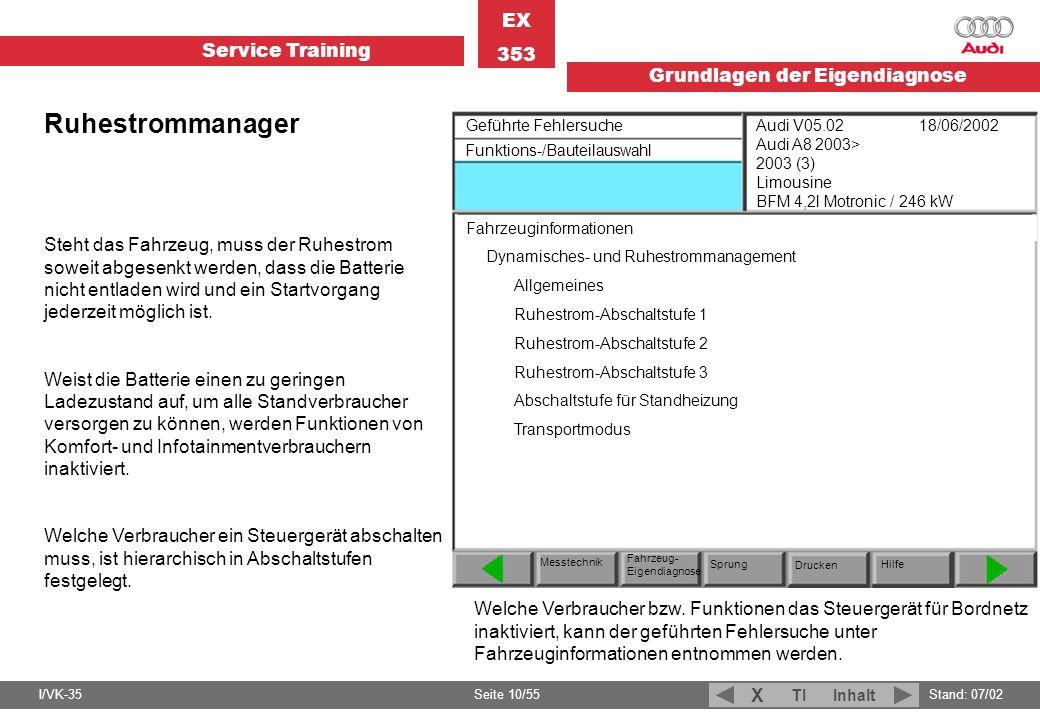 Service Training EX 353 Grundlagen der Eigendiagnose I/VK-35Stand: 07/02 Seite 10/55 TIInhalt X Ruhestrommanager Steht das Fahrzeug, muss der Ruhestro
