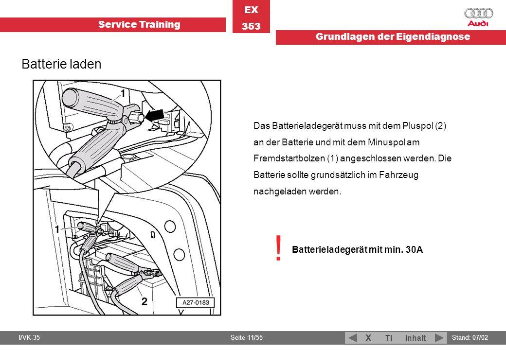 Service Training EX 353 Grundlagen der Eigendiagnose I/VK-35Stand: 07/02 Seite 11/55 TIInhalt X Batterie laden Das Batterieladegerät muss mit dem Plus
