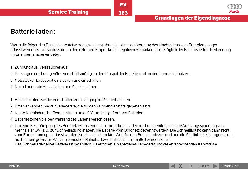 Service Training EX 353 Grundlagen der Eigendiagnose I/VK-35Stand: 07/02 Seite 12/55 TIInhalt X Wenn die folgenden Punkte beachtet werden, wird gewähr