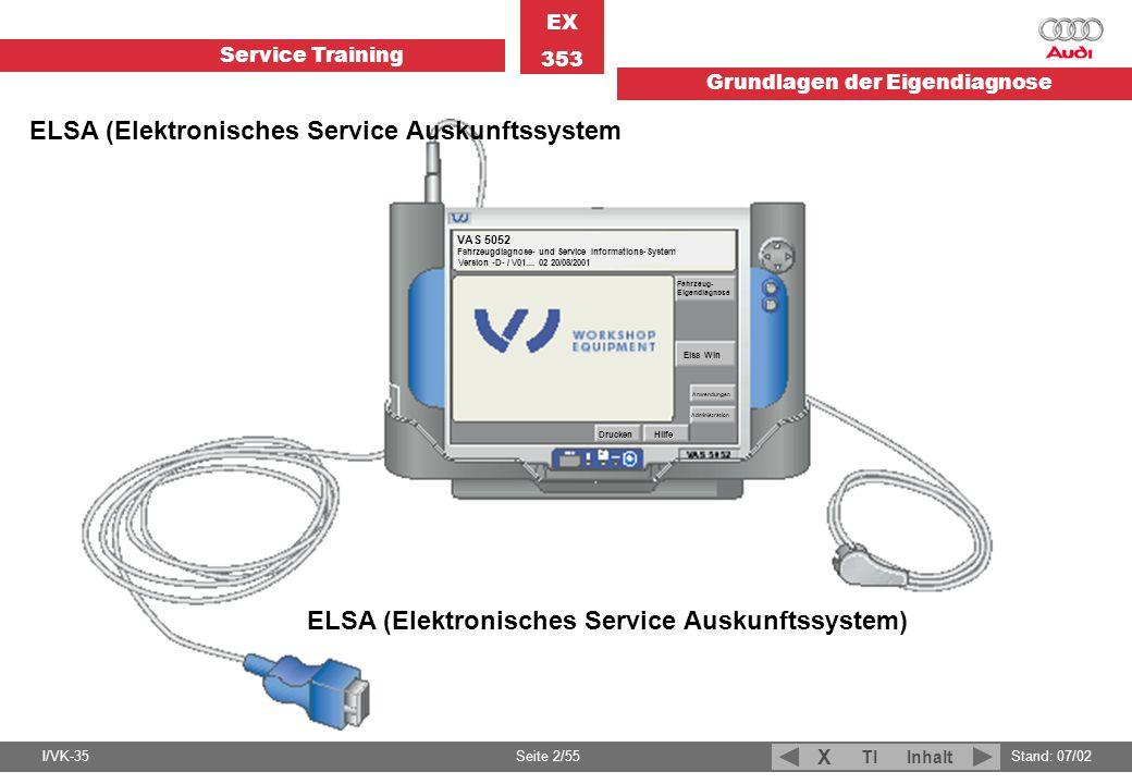 Service Training EX 353 Grundlagen der Eigendiagnose I/VK-35Stand: 07/02 Seite 2/55 TIInhalt X VAS 5052 Fahrzeugdiagnose- und Service Informations-Sys