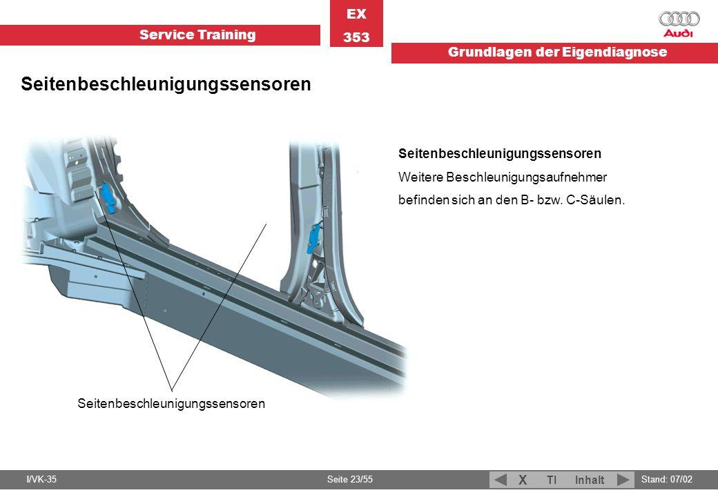 Service Training EX 353 Grundlagen der Eigendiagnose I/VK-35Stand: 07/02 Seite 23/55 TIInhalt X Seitenbeschleunigungssensoren Weitere Beschleunigungsa