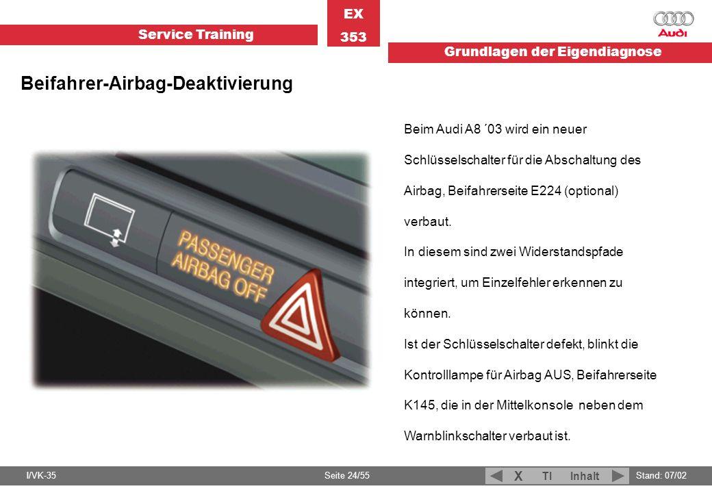 Service Training EX 353 Grundlagen der Eigendiagnose I/VK-35Stand: 07/02 Seite 24/55 TIInhalt X Beim Audi A8 ´03 wird ein neuer Schlüsselschalter für