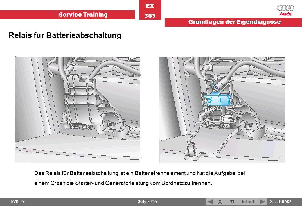 Service Training EX 353 Grundlagen der Eigendiagnose I/VK-35Stand: 07/02 Seite 26/55 TIInhalt X Relais für Batterieabschaltung Das Relais für Batterie
