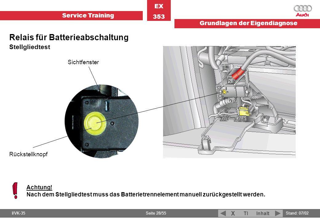 Service Training EX 353 Grundlagen der Eigendiagnose I/VK-35Stand: 07/02 Seite 28/55 TIInhalt X Sichtfenster Rückstellknopf Achtung! Nach dem Stellgli