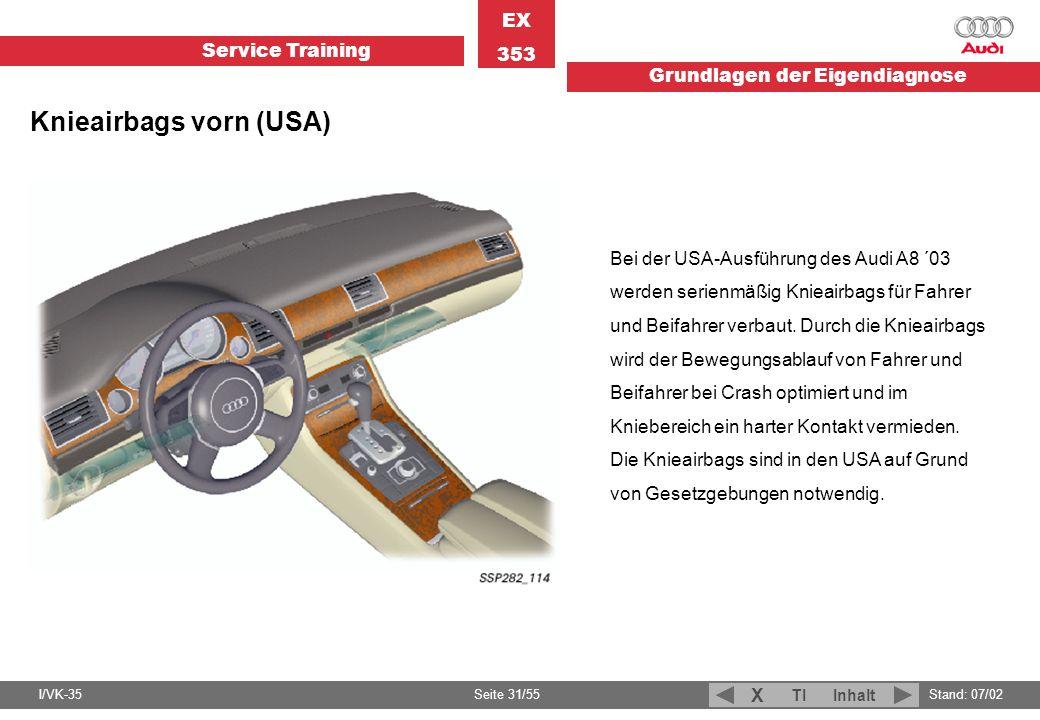 Service Training EX 353 Grundlagen der Eigendiagnose I/VK-35Stand: 07/02 Seite 31/55 TIInhalt X Bei der USA-Ausführung des Audi A8 ´03 werden serienmä