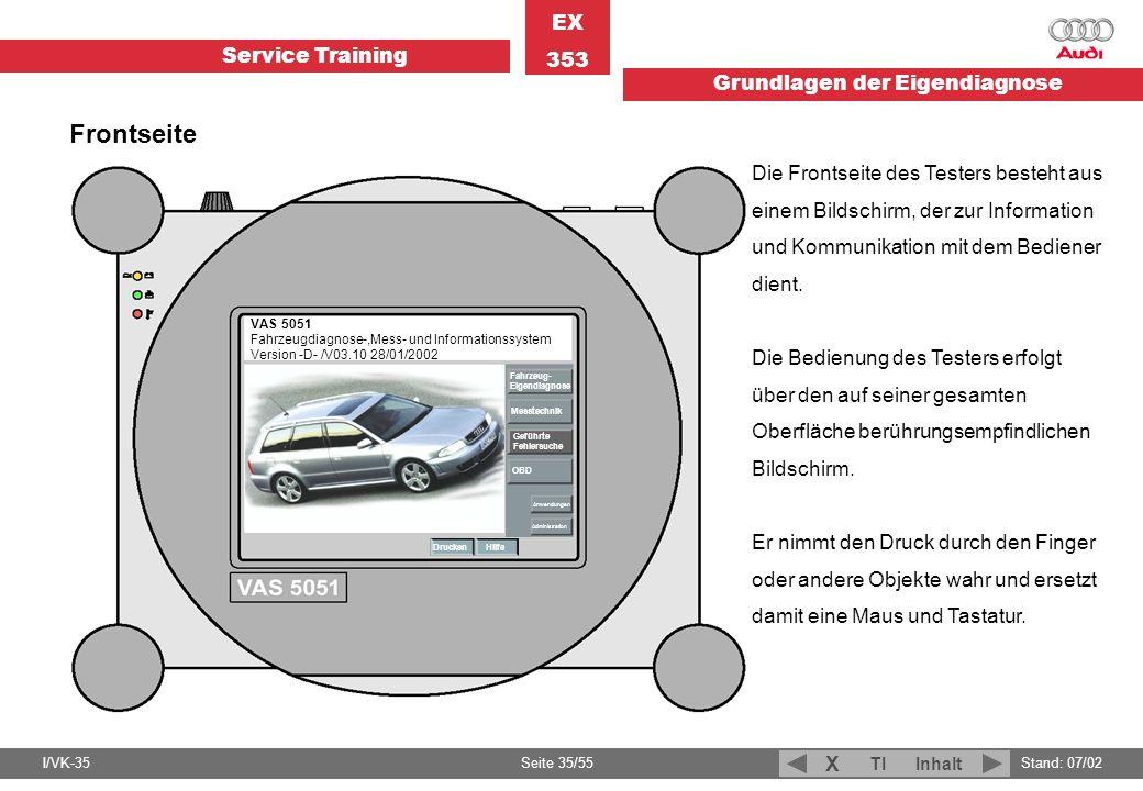 Service Training EX 353 Grundlagen der Eigendiagnose I/VK-35Stand: 07/02 Seite 35/55 TIInhalt X VAS 5051 Fahrzeugdiagnose-,Mess- und Informationssyste