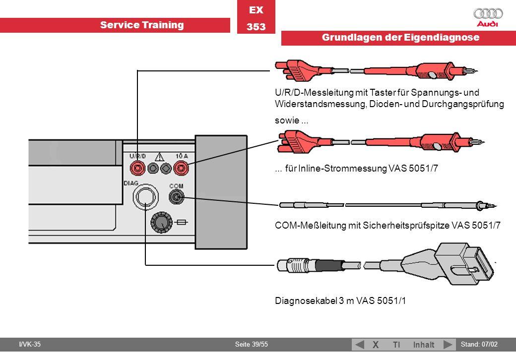 Service Training EX 353 Grundlagen der Eigendiagnose I/VK-35Stand: 07/02 Seite 39/55 TIInhalt X... für Inline-Strommessung VAS 5051/7 U/R/D-Messleitun