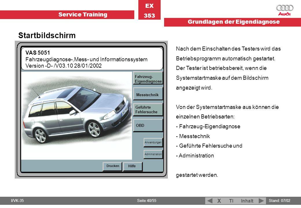Service Training EX 353 Grundlagen der Eigendiagnose I/VK-35Stand: 07/02 Seite 40/55 TIInhalt X Nach dem Einschalten des Testers wird das Betriebsprog