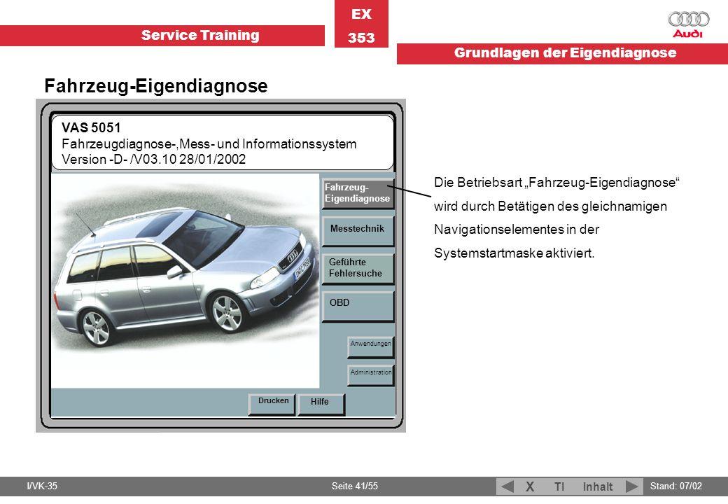 Service Training EX 353 Grundlagen der Eigendiagnose I/VK-35Stand: 07/02 Seite 41/55 TIInhalt X Fahrzeug-Eigendiagnose Die Betriebsart Fahrzeug-Eigend