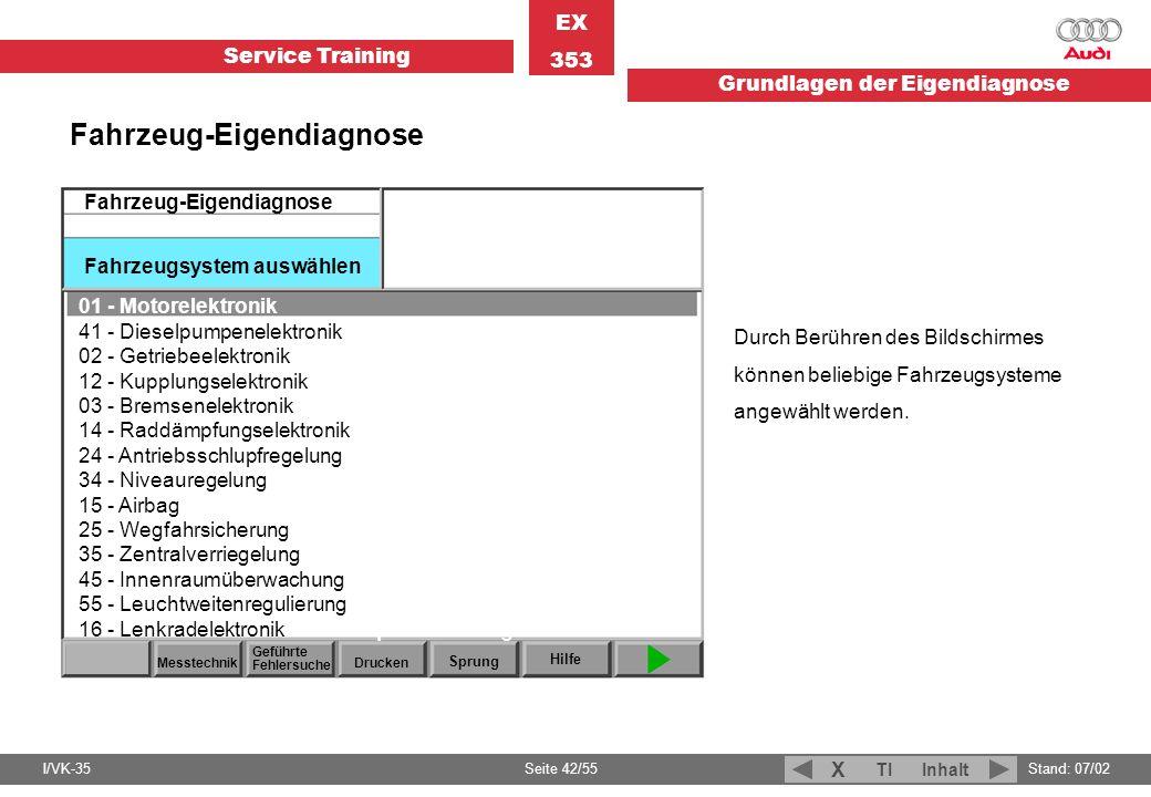 Service Training EX 353 Grundlagen der Eigendiagnose I/VK-35Stand: 07/02 Seite 42/55 TIInhalt X Durch Berühren des Bildschirmes können beliebige Fahrz