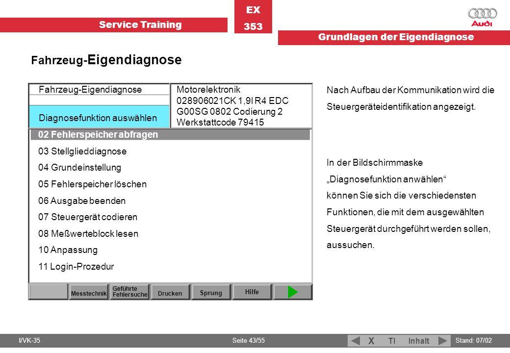 Service Training EX 353 Grundlagen der Eigendiagnose I/VK-35Stand: 07/02 Seite 43/55 TIInhalt X Fahrzeug- Eigendiagnose Diagnosefunktion auswählen Mes