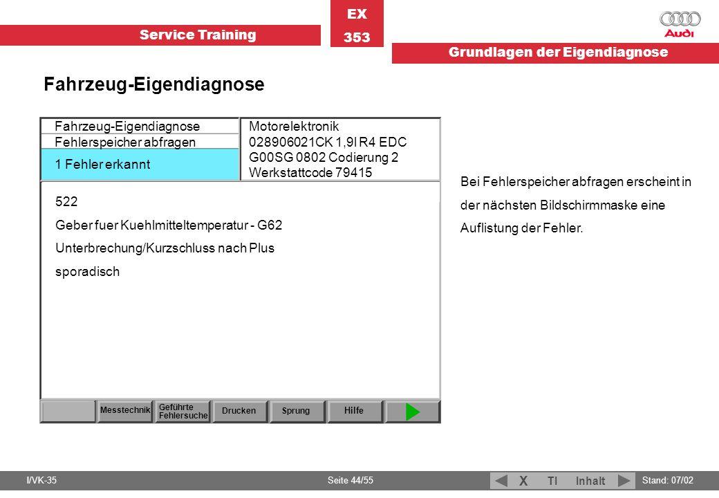 Service Training EX 353 Grundlagen der Eigendiagnose I/VK-35Stand: 07/02 Seite 44/55 TIInhalt X Fahrzeug-Eigendiagnose Fehlerspeicher abfragen 1 Fehle