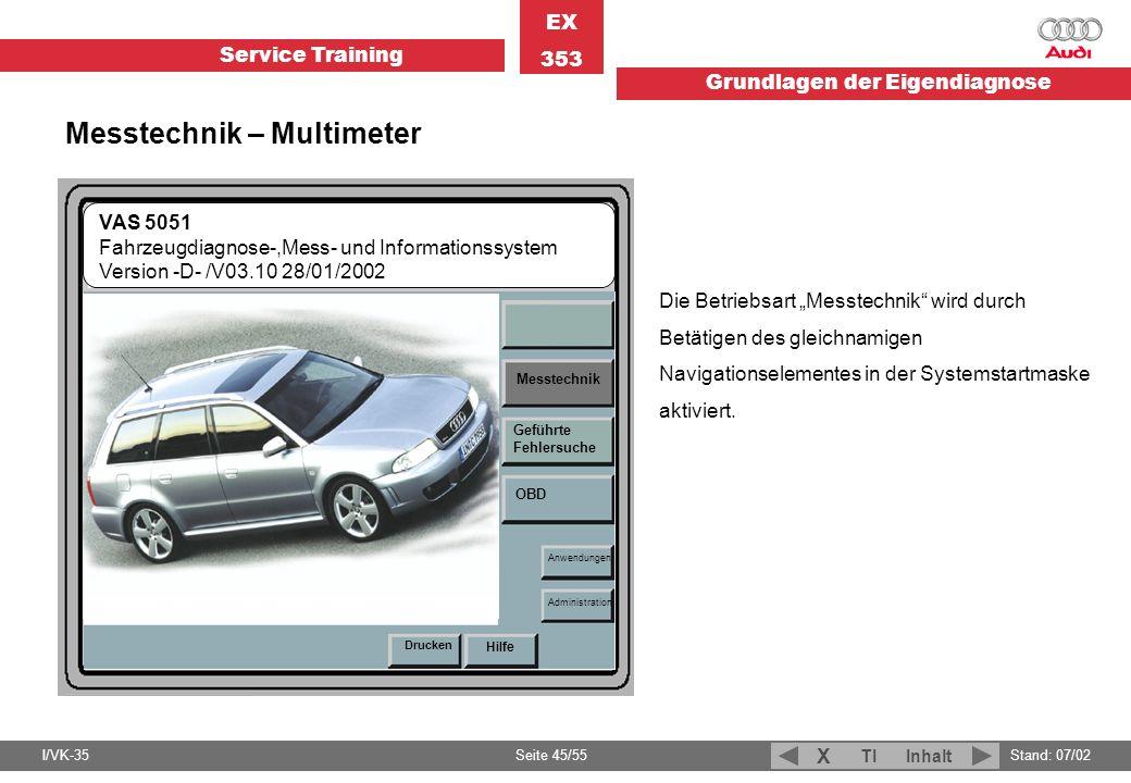 Service Training EX 353 Grundlagen der Eigendiagnose I/VK-35Stand: 07/02 Seite 45/55 TIInhalt X Fahrzeug- Eigendiagnose VAS 5051 Fahrzeugdiagnose-,Mes