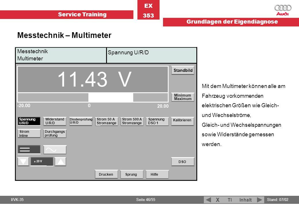 Service Training EX 353 Grundlagen der Eigendiagnose I/VK-35Stand: 07/02 Seite 46/55 TIInhalt X Messtechnik Multimeter Spannung U/R/D Standbild Minimu