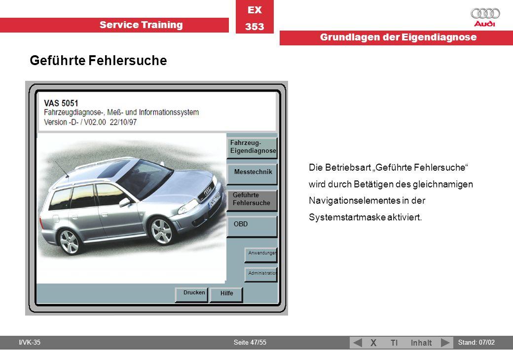 Service Training EX 353 Grundlagen der Eigendiagnose I/VK-35Stand: 07/02 Seite 47/55 TIInhalt X Fahrzeug- Eigendiagnose Messtechnik Geführte Fehlersuc