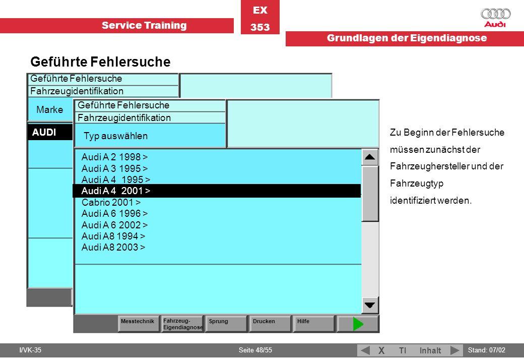 Service Training EX 353 Grundlagen der Eigendiagnose I/VK-35Stand: 07/02 Seite 48/55 TIInhalt X Geführte Fehlersuche Zu Beginn der Fehlersuche müssen