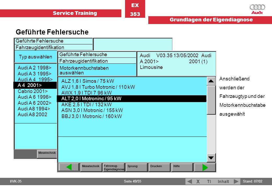 Service Training EX 353 Grundlagen der Eigendiagnose I/VK-35Stand: 07/02 Seite 49/55 TIInhalt X Anschließend werden der Fahrzeugtyp und der Motorkennb