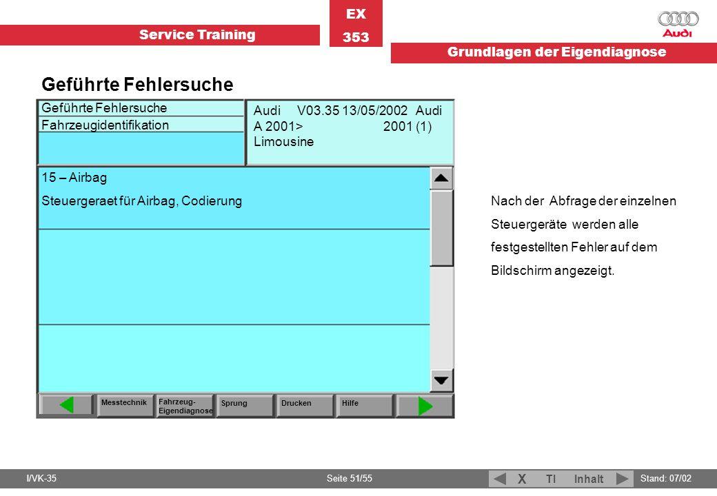 Service Training EX 353 Grundlagen der Eigendiagnose I/VK-35Stand: 07/02 Seite 51/55 TIInhalt X Geführte Fehlersuche Fahrzeugidentifikation Messtechni