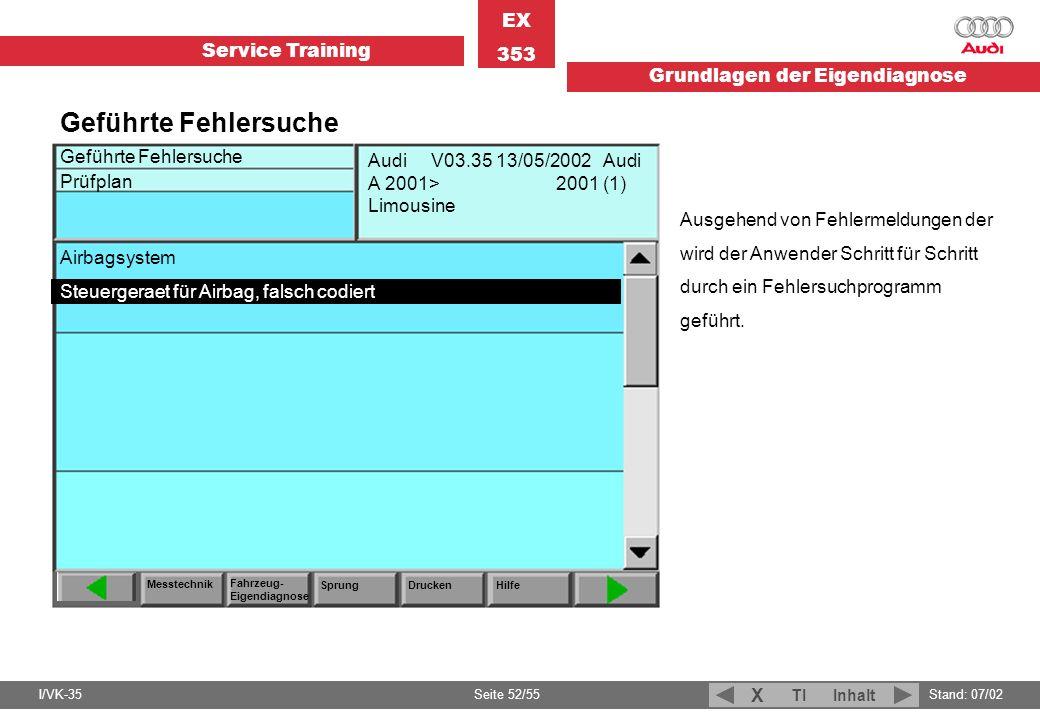 Service Training EX 353 Grundlagen der Eigendiagnose I/VK-35Stand: 07/02 Seite 52/55 TIInhalt X Geführte Fehlersuche Prüfplan Messtechnik Fahrzeug- Ei