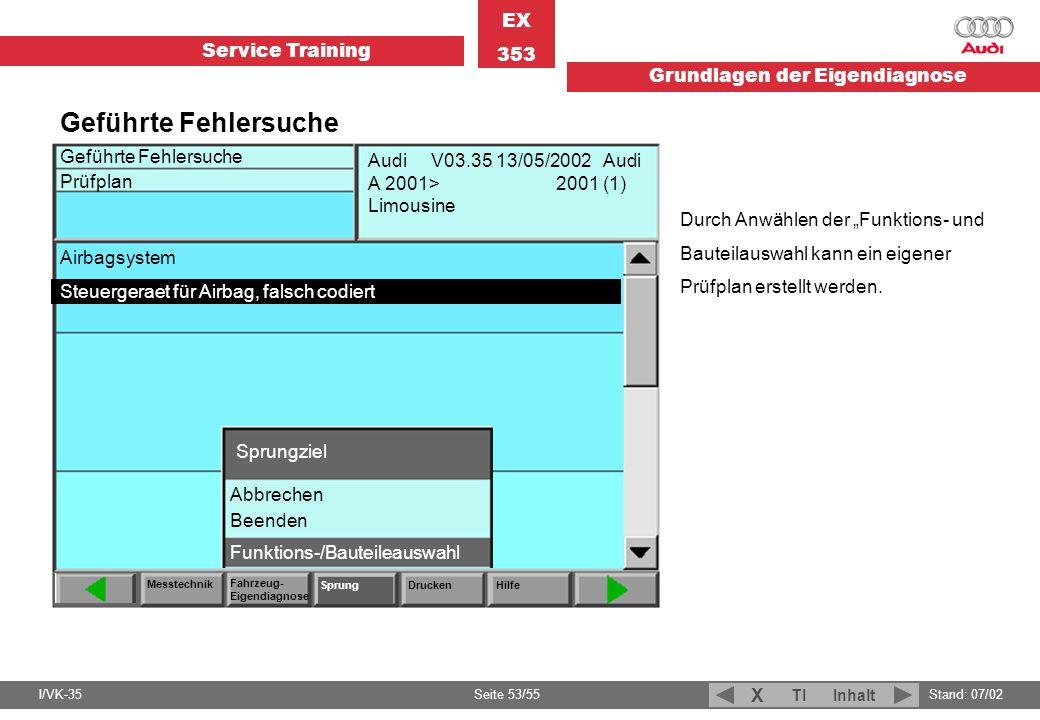 Service Training EX 353 Grundlagen der Eigendiagnose I/VK-35Stand: 07/02 Seite 53/55 TIInhalt X Geführte Fehlersuche Prüfplan Messtechnik Fahrzeug- Ei