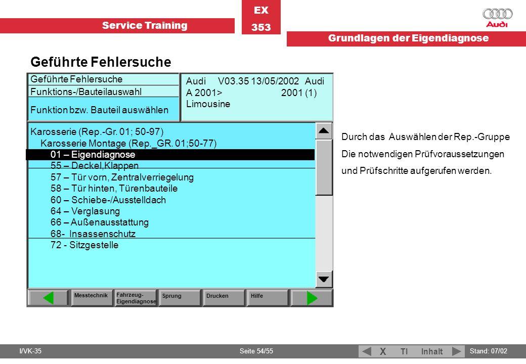 Service Training EX 353 Grundlagen der Eigendiagnose I/VK-35Stand: 07/02 Seite 54/55 TIInhalt X Geführte Fehlersuche Durch das Auswählen der Rep.-Grup
