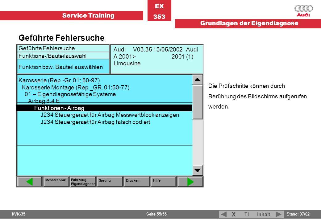 Service Training EX 353 Grundlagen der Eigendiagnose I/VK-35Stand: 07/02 Seite 55/55 TIInhalt X Geführte Fehlersuche Funktions-/Bauteilauswahl Messtec