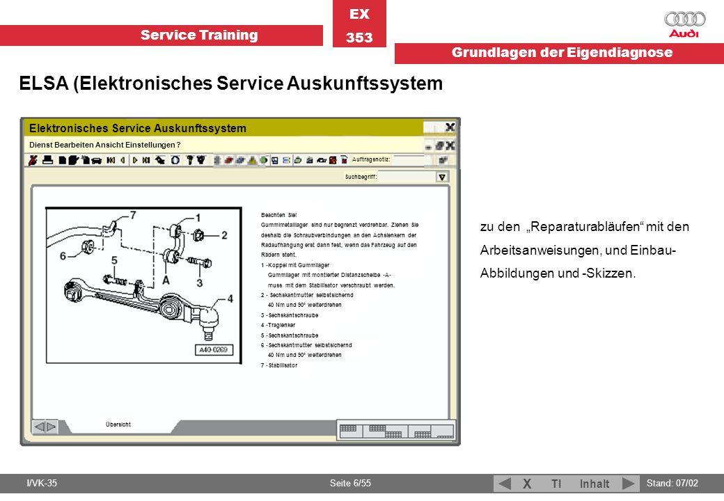 Service Training EX 353 Grundlagen der Eigendiagnose I/VK-35Stand: 07/02 Seite 6/55 TIInhalt X zu den Reparaturabläufen mit den Arbeitsanweisungen, un