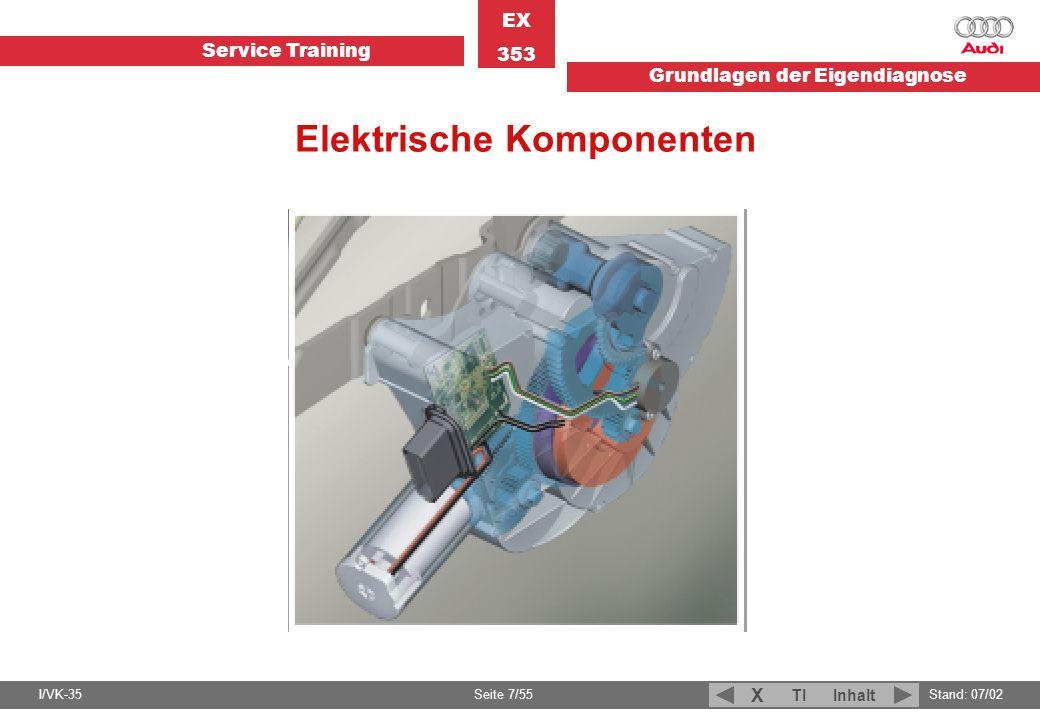Service Training EX 353 Grundlagen der Eigendiagnose I/VK-35Stand: 07/02 Seite 7/55 TIInhalt X Elektrische Komponenten