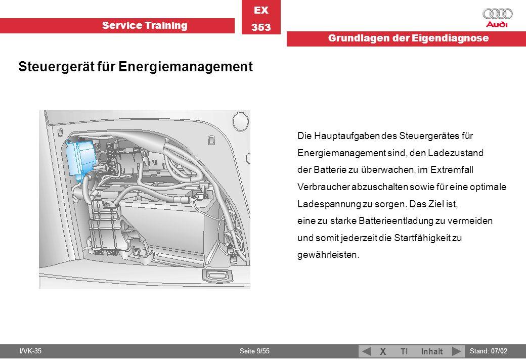Service Training EX 353 Grundlagen der Eigendiagnose I/VK-35Stand: 07/02 Seite 9/55 TIInhalt X Steuergerät für Energiemanagement Die Hauptaufgaben des