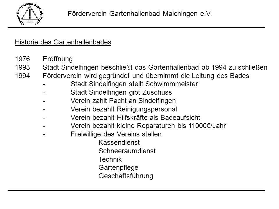 Förderverein Gartenhallenbad Maichingen e.V. Historie des Gartenhallenbades 1976Eröffnung 1993 Stadt Sindelfingen beschließt das Gartenhallenbad ab 19