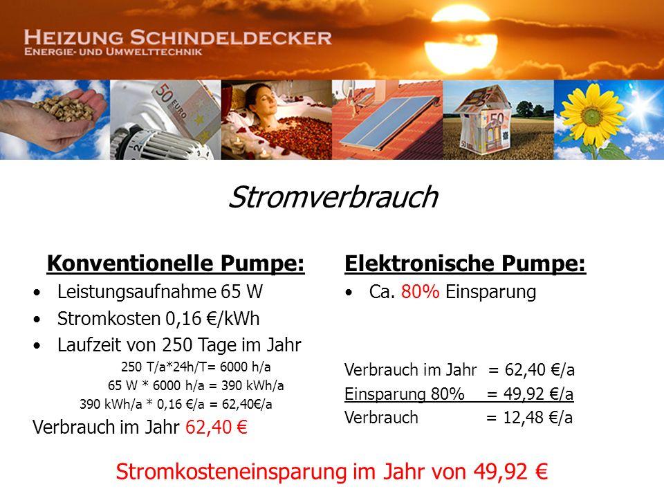 Stromverbrauch Konventionelle Pumpe: Leistungsaufnahme 65 W Stromkosten 0,16 /kWh Laufzeit von 250 Tage im Jahr 250 T/a*24h/T= 6000 h/a 65 W * 6000 h/