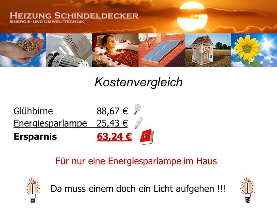 Kostenvergleich Glühbirne 88,67 Energiesparlampe25,43 63,24 Ersparnis 63,24 Für nur eine Energiesparlampe im Haus Da muss einem doch ein Licht aufgehe