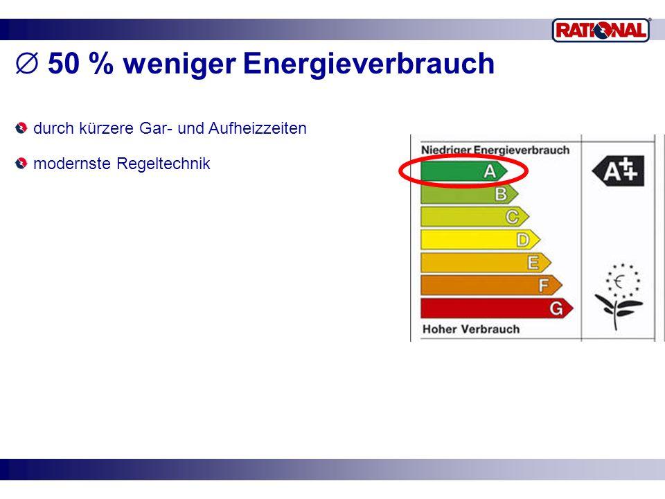 50 % weniger Energieverbrauch durch kürzere Gar- und Aufheizzeiten modernste Regeltechnik