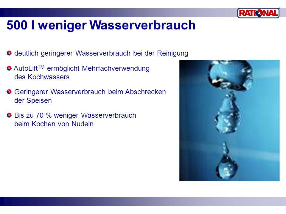 500 l weniger Wasserverbrauch deutlich geringerer Wasserverbrauch bei der Reinigung AutoLift TM ermöglicht Mehrfachverwendung des Kochwassers Geringer