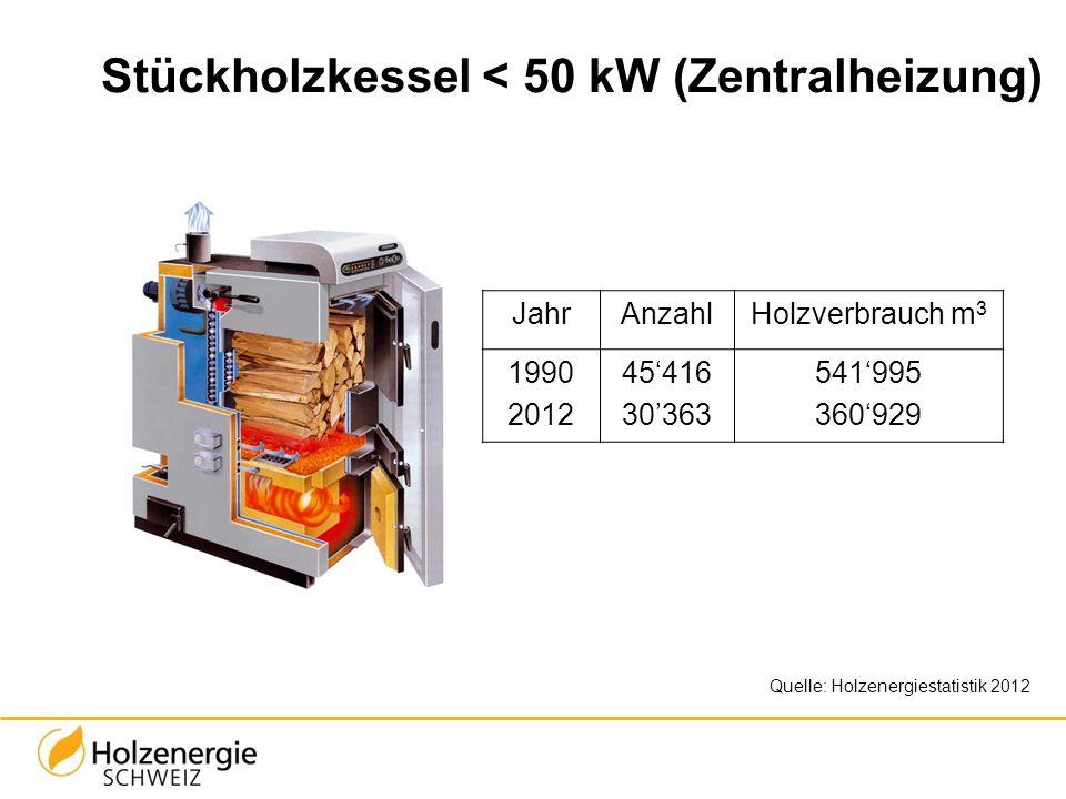 Stückholzkessel < 50 kW (Zentralheizung) JahrAnzahlHolzverbrauch m 3 1990 2012 45416 30363 541995 360929 Quelle: Holzenergiestatistik 2012