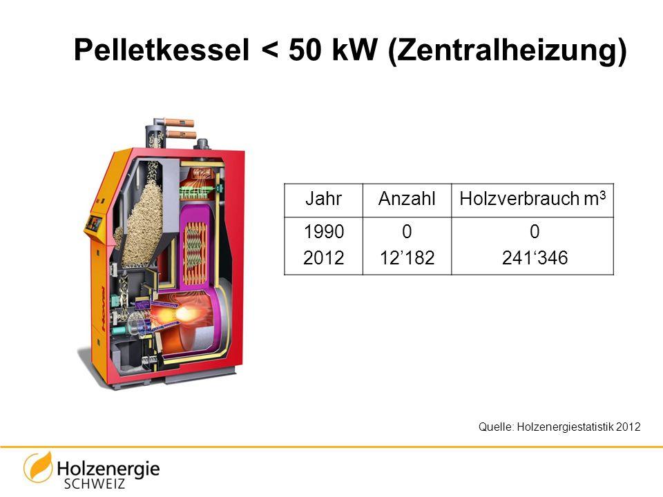 Pelletkessel < 50 kW (Zentralheizung) JahrAnzahlHolzverbrauch m 3 1990 2012 0 12182 0 241346 Quelle: Holzenergiestatistik 2012