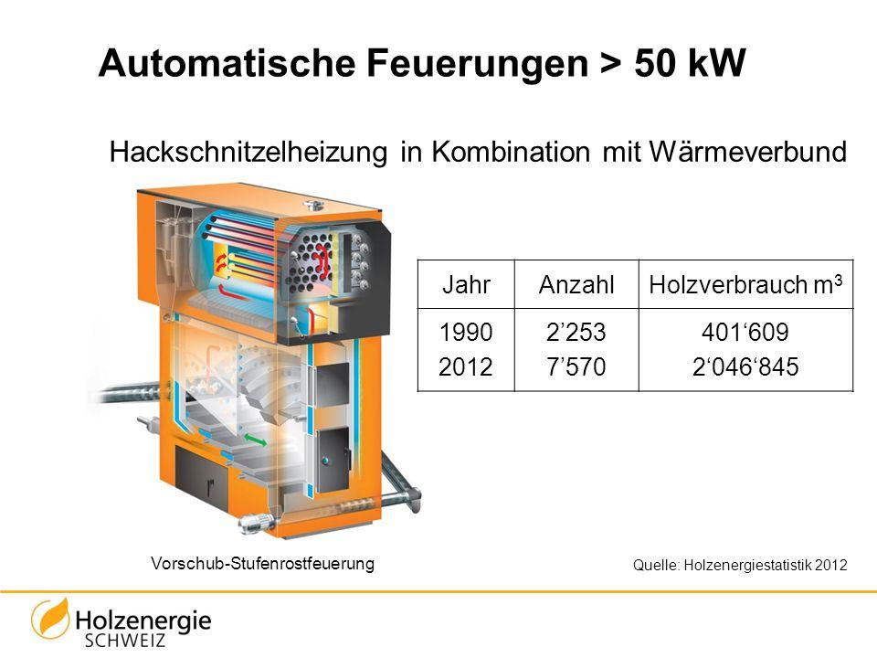 JahrAnzahlHolzverbrauch m 3 1990 2012 2253 7570 401609 2046845 Automatische Feuerungen > 50 kW Hackschnitzelheizung in Kombination mit Wärmeverbund Vo