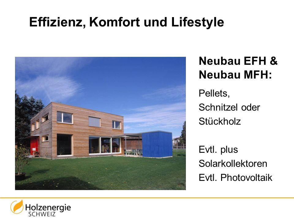 Effizienz, Komfort und Lifestyle Neubau EFH & Neubau MFH: Pellets, Schnitzel oder Stückholz Evtl. plus Solarkollektoren Evtl. Photovoltaik