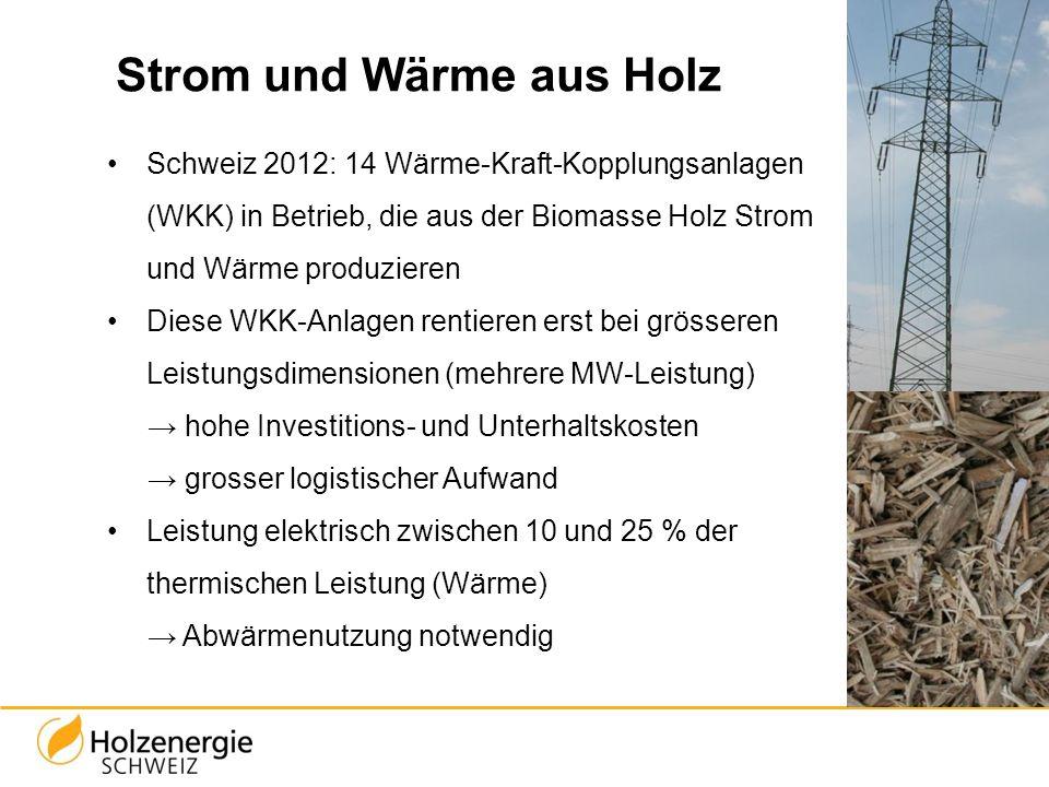 Strom und Wärme aus Holz Schweiz 2012: 14 Wärme-Kraft-Kopplungsanlagen (WKK) in Betrieb, die aus der Biomasse Holz Strom und Wärme produzieren Diese W