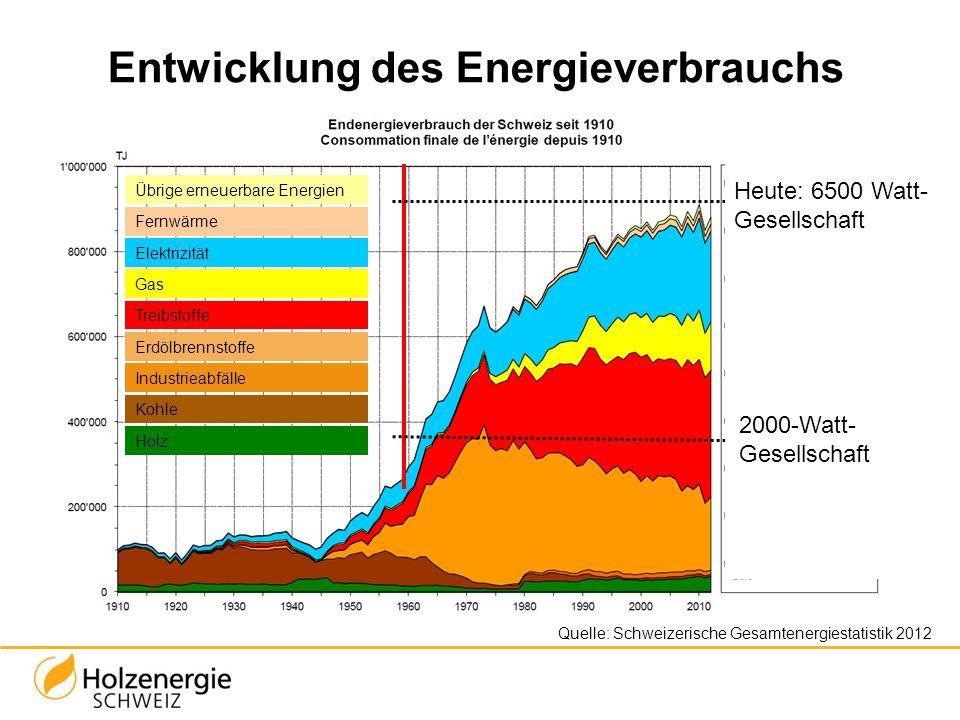Entwicklung des Energieverbrauchs 2000-Watt- Gesellschaft Heute: 6500 Watt- Gesellschaft Quelle: Schweizerische Gesamtenergiestatistik 2012 Übrige ern