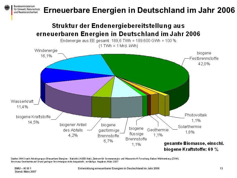 BMU – KI III 1 Stand: März 2007 Entwicklung erneuerbarer Energien in Deutschland im Jahr 200613 Erneuerbare Energien in Deutschland im Jahr 2006