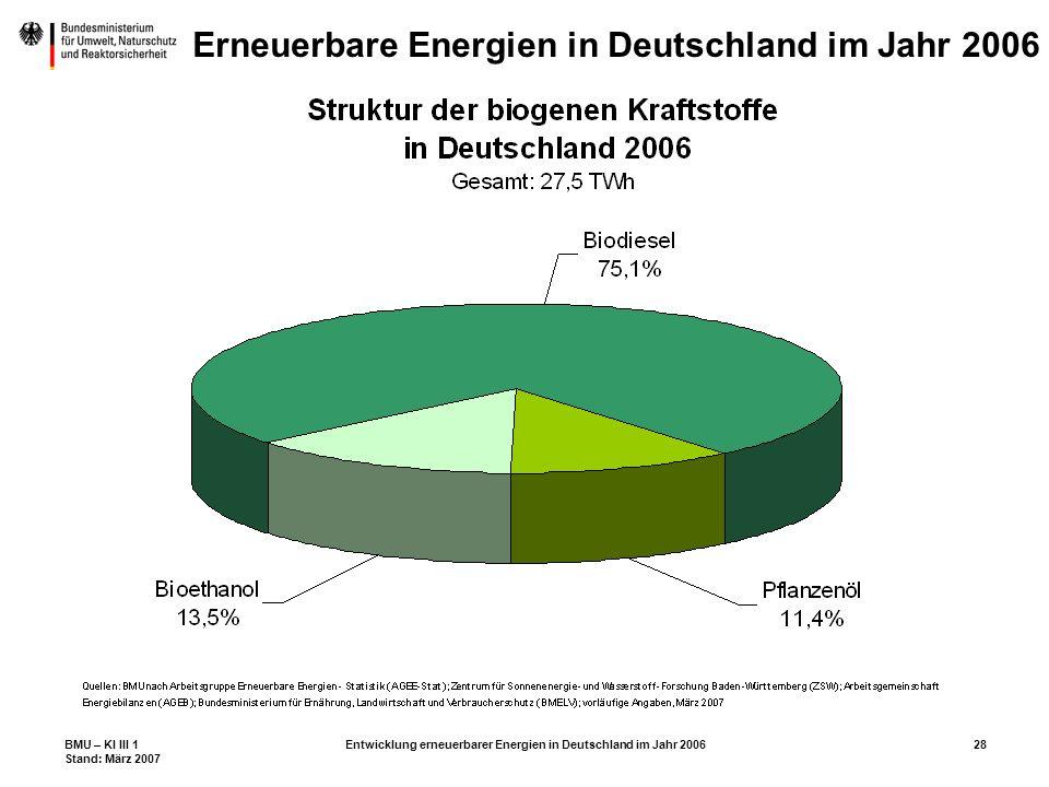 BMU – KI III 1 Stand: März 2007 Entwicklung erneuerbarer Energien in Deutschland im Jahr 200628 Erneuerbare Energien in Deutschland im Jahr 2006