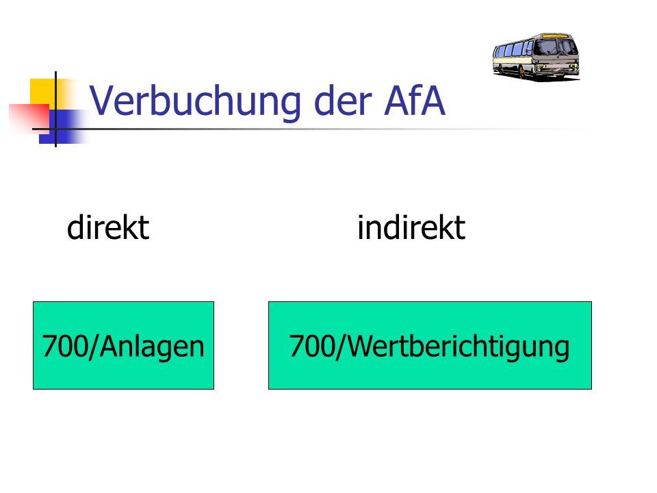 Verbuchung der AfA direktindirekt 700/Anlagen700/Wertberichtigung