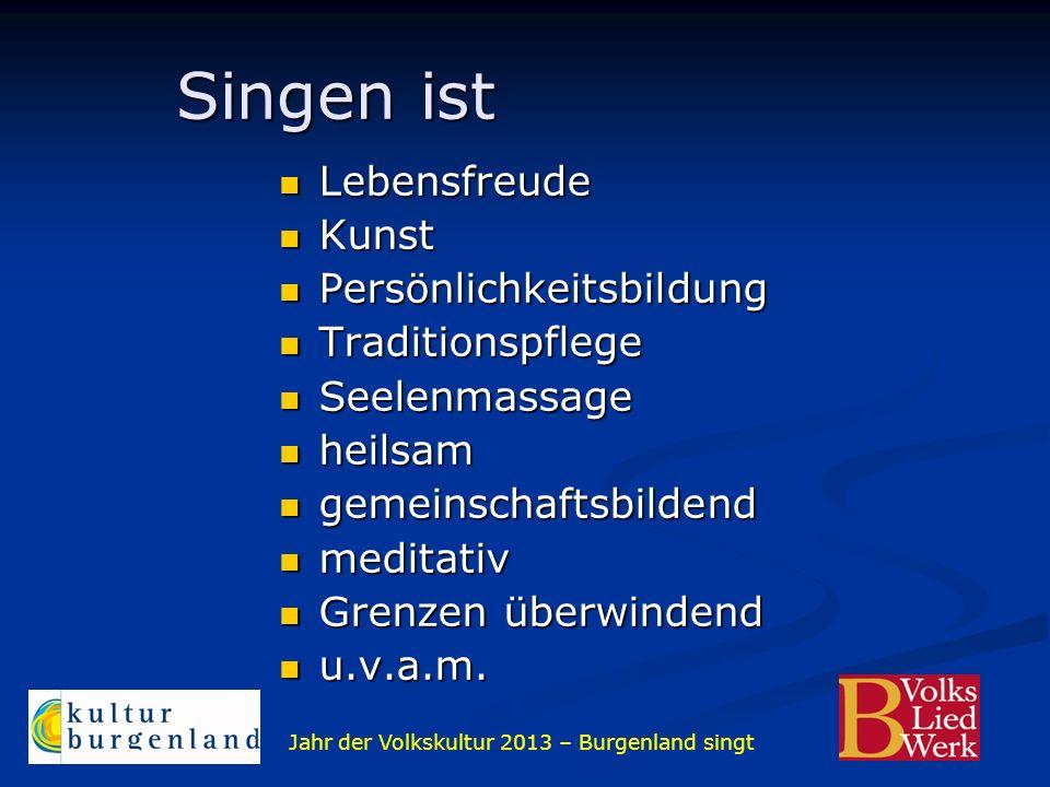 Jahr der Volkskultur 2013 – Burgenland singt Singen ist Singen ist Lebensfreude Lebensfreude Kunst Kunst Persönlichkeitsbildung Persönlichkeitsbildung