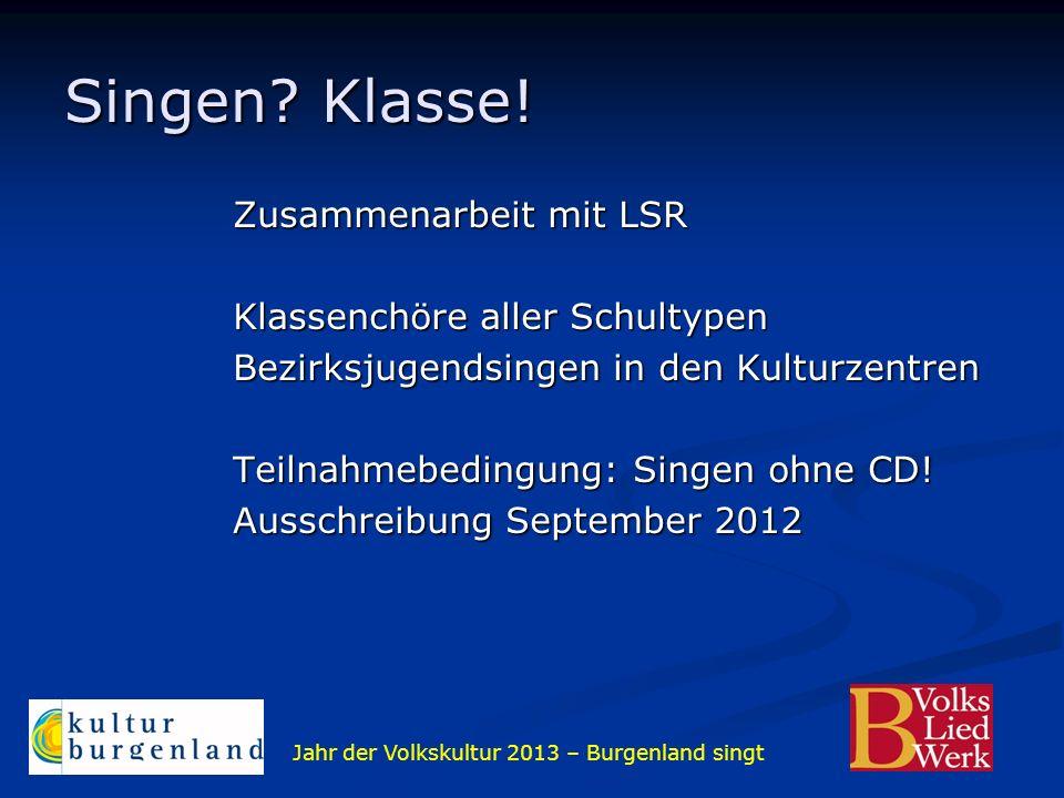 Jahr der Volkskultur 2013 – Burgenland singt Singen? Klasse! Zusammenarbeit mit LSR Klassenchöre aller Schultypen Bezirksjugendsingen in den Kulturzen