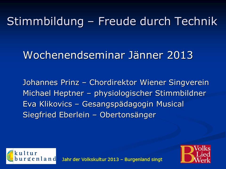 Jahr der Volkskultur 2013 – Burgenland singt Wochenendseminar Jänner 2013 Johannes Prinz – Chordirektor Wiener Singverein Michael Heptner – physiologi